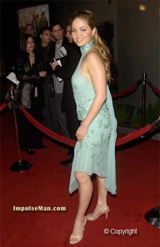 erika christensen showing legs in blue dress and heel