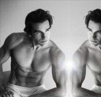 muscle man looking in mirror