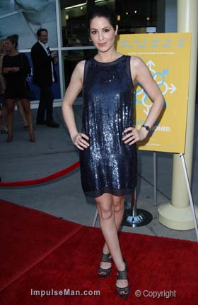 Michelle-Borth-sexy-blue-sparkle-dress-heels