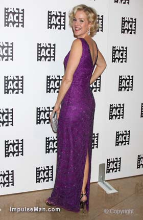Penelope-Ann-Miller-purple-slit-dress-heels